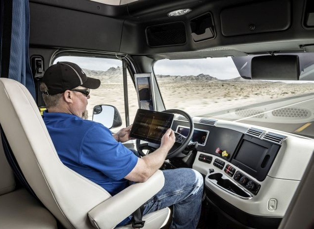 Being able to do other things while in autonomous mode could make the job more productive and attractive to drivers. Photo: Freightliner