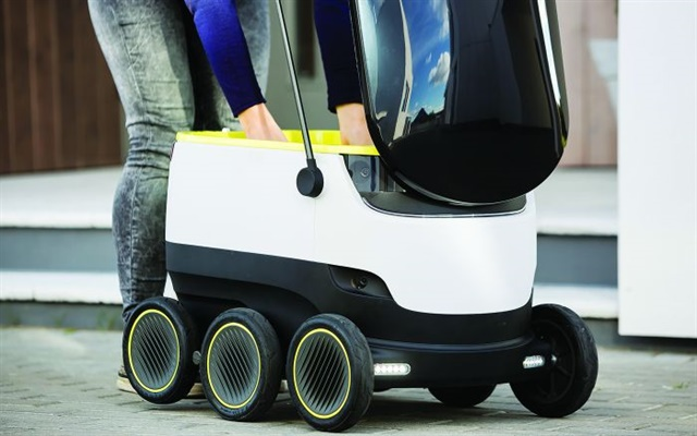 Small delivery robots like this one may soon be delivering medicines, food or other purchased items directly to drivers parked in truck stops. Photo: Starship Technologies