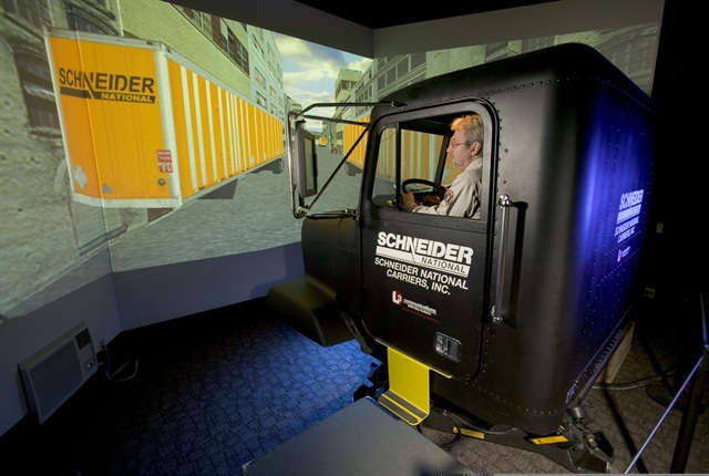 Today, you don't have to devote a whole room to a full-size cab simulator, like this one at Schneider in 2006.