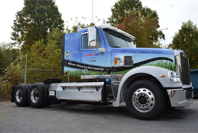 Technicians at Penn Commercial Vehicle, a WheelTime member based in Glenmore, Pa., assembled thisCoronado daycab demo tractor from a Freightliner glider kit. It has an APG dual-fuel diesel-natural gas system and a Webasto coolant heater.