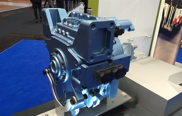 Eaton showed off a four-speed transmission designed for electric vehicles, with the initial target being city buses for urban areas. Photo: Deborah Lockridge
