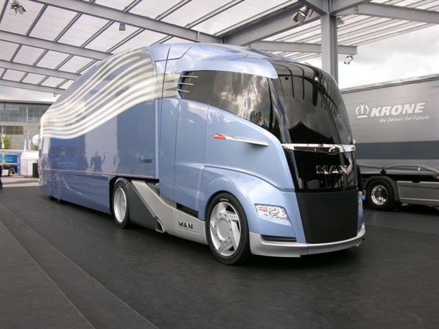 """This """"aerodynamically optimized road train"""" concept truck from MAN and Krone, both prominent vehicle builders in Europe, was showcased at the 2012 IAA commercial truck show in Hanover, Germany. The builders said it could save 25% in fuel and carbon dioxide emissions. Photo: Jim Park"""