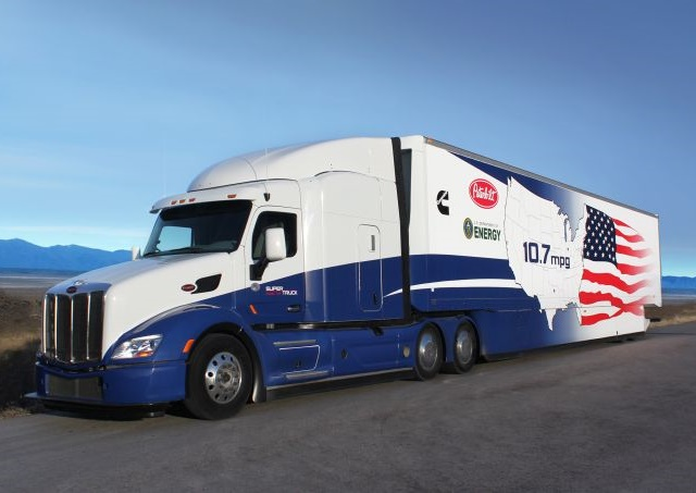 When the U.S. Department of Energy in 2010 first announced its SuperTruck funding for the development and demonstration of advanced technologies to improve the efficiency of long-haul Class 8 trucks, the 10.7 mpg achieved by the Cummins/Peterbilt SuperTruck was almost unheard of. Photo: Peterbilt