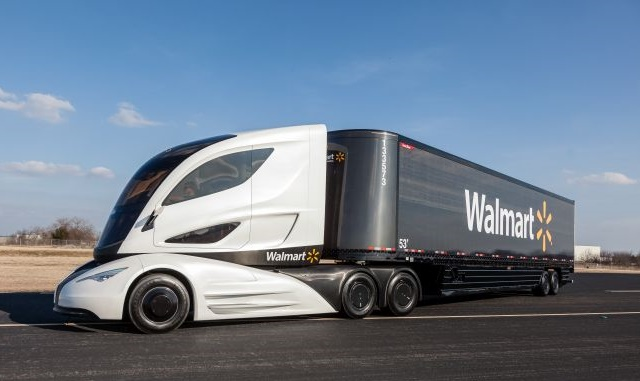 The Walmart Advanced Vehicle Experience, or WAVE, was a futuristically styled concept truck put together with Peterbilt, Capstone Turbine, Great Dane and other suppliers, powered by a microturbine-electric hybrid drive system and a trailer made of lightweight carbon fiber. Photo: Walmart