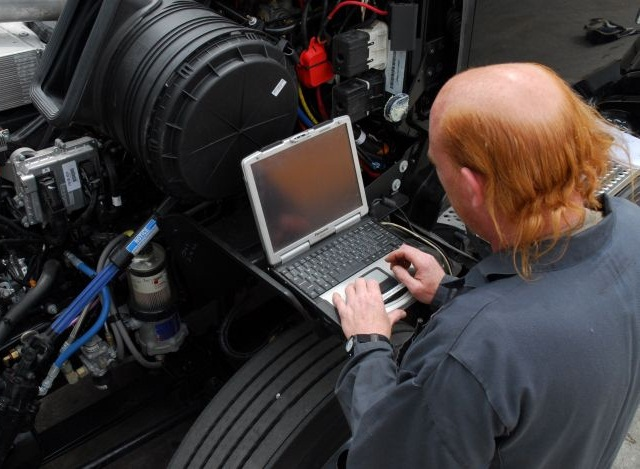 Technicians can set various engine parameters with a laptop or a specialized reader, often dedicated to a particular engine maker. Generic tools are available as well. Photo: Jim Park