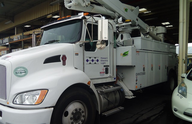 Hawaii Electric Light is buying plug-in and diesel-electric hybrid trucks, and burns B20 and B100 biodiesel.