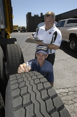 Check and record tire pressure and tread depth every time you see a tire. Photo courtesy of Goodyear