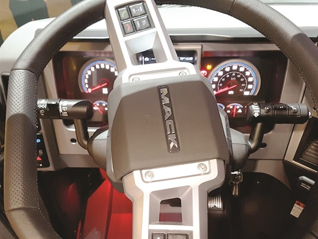The dash A-panel from the driver's perspective. Mack offers the industry's only flat-bottomed steering wheel, which provides a little more belly or thigh room.