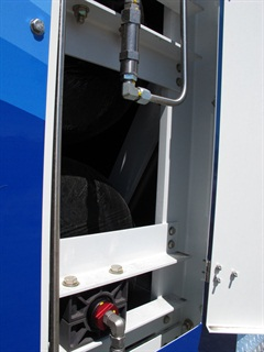 The CNG tank cabinet has a very robust steel subframe to secure and protect the tanks. It's not airtight to prevent possible gas build up, but the doors rattle.