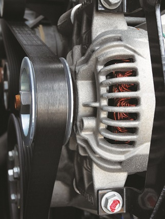 Alternators like this one will probably disappear from the front of engines, replaced by a starter generator built into the transmission. Photo: Jim Park