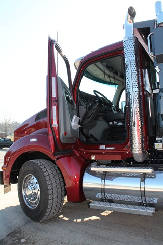 Handles inside and out make for a safe climb into the wider aluminum cab, and triple door seals shut out noises.