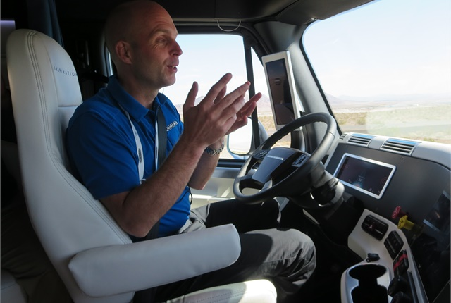 On the road in the Freightliner Inspiration Truck, an autonomous concept vehicle. Photo: Deborah Lockridge.