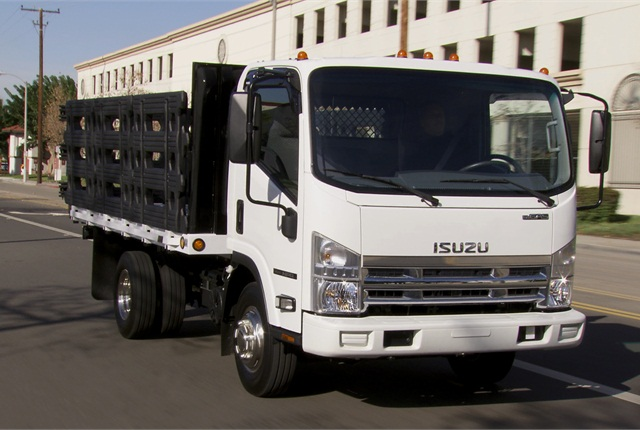 Isuzu:Class 3 NPR Gas (shown) and Class 4 NPR-HD Gas, with a GM-built 6-liter gasoline V-8 and Hydra-matic 6-speed automatic, gets to 20-25% of Isuzu's sales. Diesel takes 75-80% of sales, but is divided between the 5.2-liter 4HK1-TC inline 4 that powers the Class 4 NPR-HD and the Class 5 NQR, and the 3-liter 4JJ1-TC inline 4 used in the Class 3 NPR Eco-Max cab-chassis and the Reach commercial walk-in van.