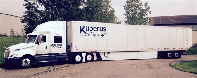 Kuperus Trucking says tractor tandem skirting, longer trailer skirts and fuel-line magnets contributed to a 3.85% mpg improvement so far this year.