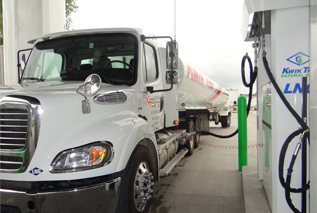 Kwik-Trip's LNG and CNG trucks use its public filling stations, including this one in La Crosse, Wis. Managers are trying out both gas types so they can give realistic advice to customers.