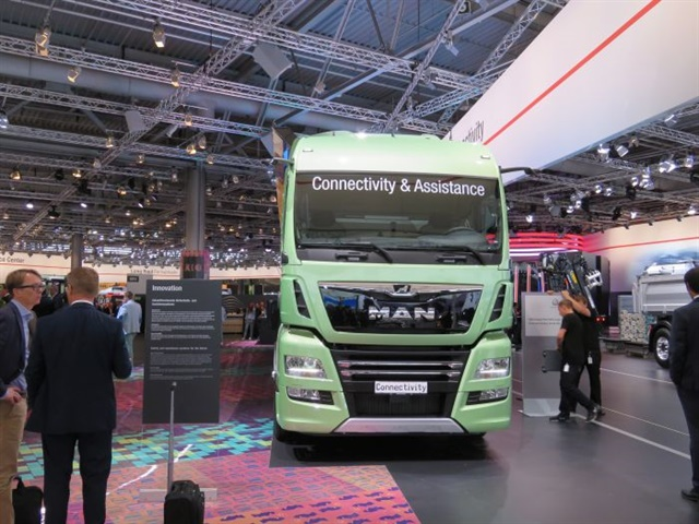 "At the IAA Commercial Vehicles Show in Germany, exhibitors talked up connectivity and ""digitalization,"" but it must always be tailored to local market capabilities and acceptance. Photo: David Cullen"