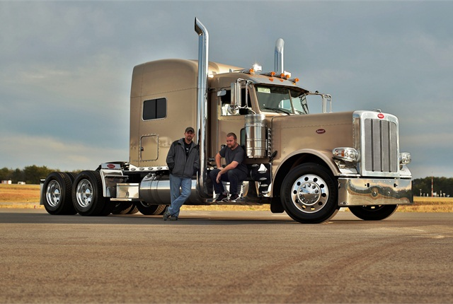 Brothers Robert Fitzgerald (standing) and Tommy Fitzgerald Jr. run the enterprise begun by their father, Tommy Sr. In addition to Freightliners and Western Stars, the specialty manufacturer also assembles Peterbilt gliders, like this Model 389, and will soon start on Kenworths.