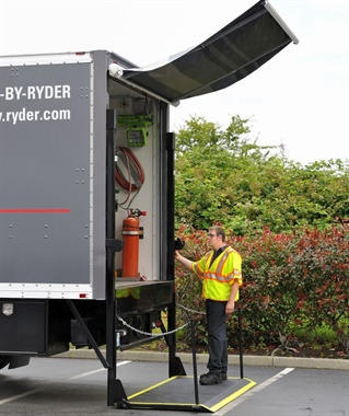 Mobile maintenance vehicles can be equipped with lifts to make the technician's job easier and safer. Photo: Ryder