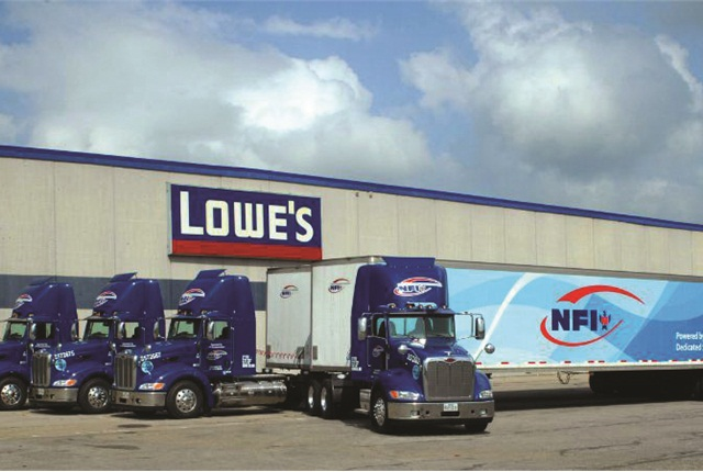 Like many fleets, NFI finds a good way to get into natural gas is to start with dedicated fleet operations, such as this one for Lowe's, running liquefied natural gas at Lowe's regional distribution center in Mount Vernon, Texas.