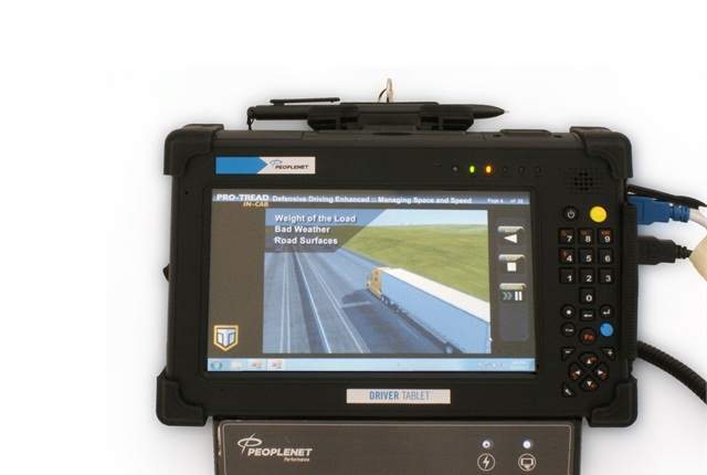 Some fleets send training courses directly to the truck cab via themobile communications system, such as this Pro-Tread lesson from Instructional Technologies on PeopleNet's in-cab and Tablet devices.