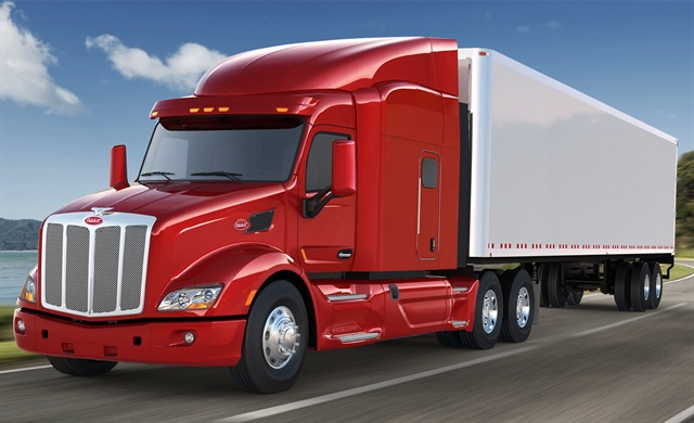 Peterbilt:The Model 579 with its wide cab and hood (shown) is Peterbilt's premier sleeper-cab highway tractor. The new Model 587 has a large, 2.1-meter-wide Paccar cab that it shares with the equally new 567 vocational truck. Pete's 3-series models continue with a narrow cab and shorter hoods: the regional and local 384 and longer-haul 386.