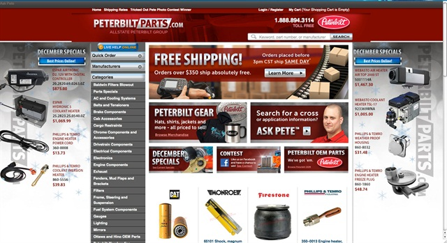 Not many dealership or parts distributors are selling online. One exception is Allstate Peterbilt Group.
