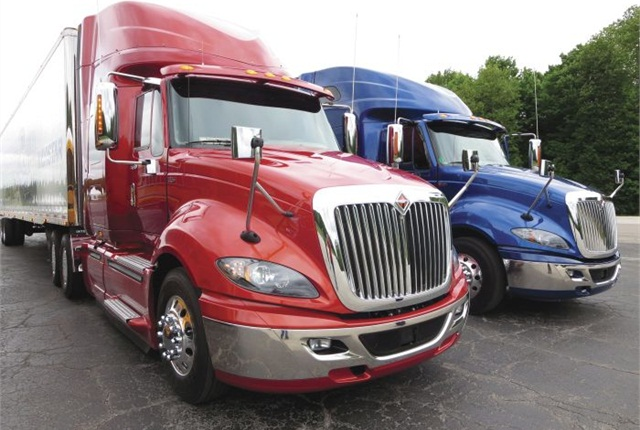 International ProStar ES with Navistar's N13-450 (left) and ProStar ES with Cummins ISX15-450. Bigger displacement seemed to perform better, and might offer extra life. Photo: Tom Berg