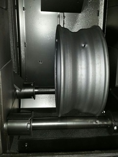 IMI's process shot-blasts wheels inside a chamber to remove rust and old paint or coatings. This takes several minutes.