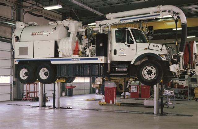 In-ground lifts, like this one from Rotary Lift, provide more clearance and more height options.