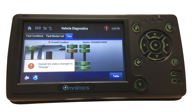Tire pressure monitoring systems, such as this one from Doran Manufacturing, not only alert drivers to potential low-pressure situations, but when integrated with a vehicle's in-cab telematics system can send that information to a fleet's back office alerting driver managers and shop personnel of the possible problems.