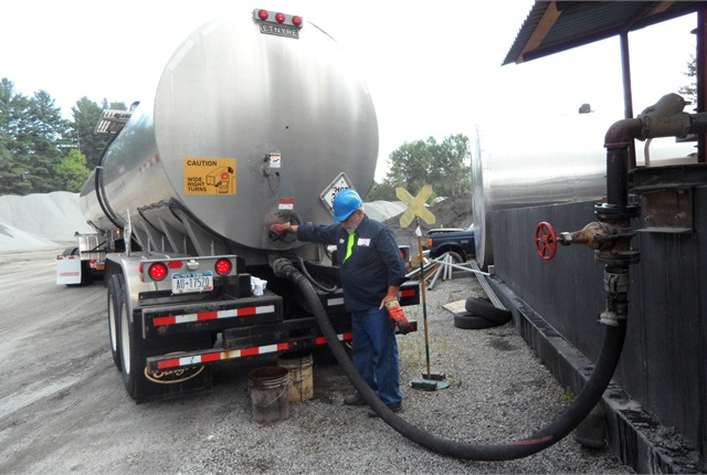 This tanker carried 8,800 gallons of hot liquid asphalt, about 40% more than what is normally allowed without an overweight permit.