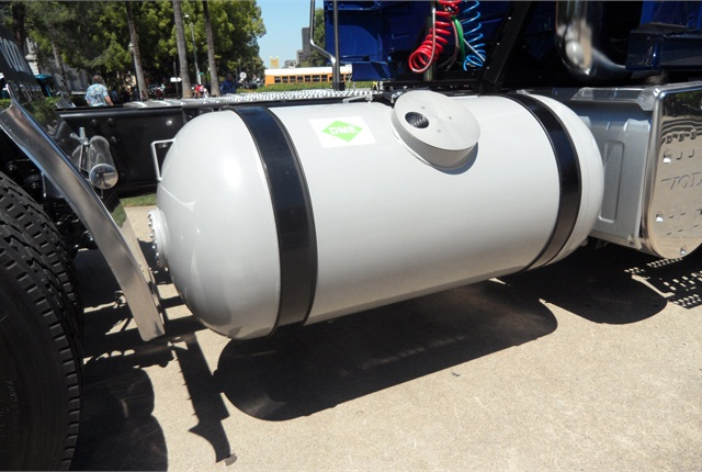 A steel DME fuel tank is the same kind used for propane. The modest storage pressure of 75 psi makes the tank, built for propane's 125 psi, overbuilt.