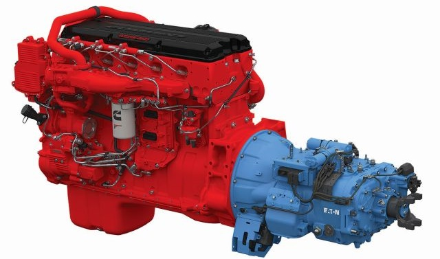 Eaton has teamed with Cummins to closely coordinate operation between the ISX15 and its Smart Advantage automated gearbox. Similar linkups are available with the Navistar N13 in Internationals and the Paccar MX-13 in Kenworth and Peterbilt trucks.