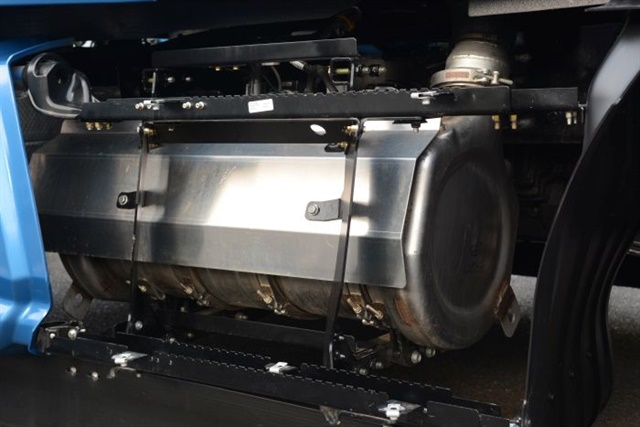 """Paccar is switching to a """"single can"""" aftertreatment system that saves about 100 pounds, makes servicing easier and frees up valuable frame space. Photo: Paccar"""