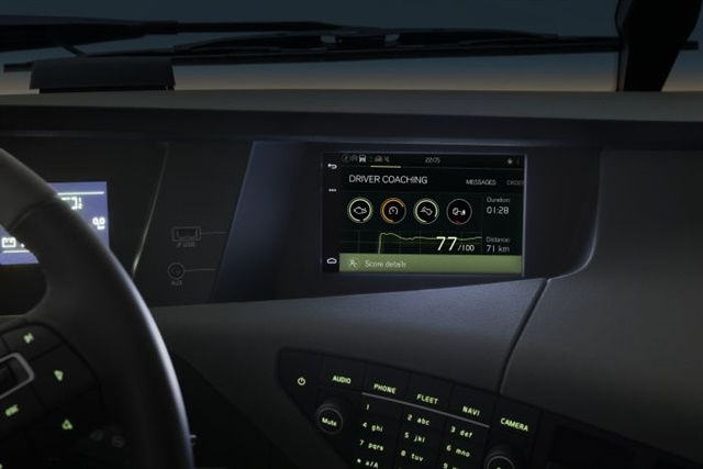Fully integrated driver infotainment systems will soon replace aftermarket units and will empower drivers in a multitude of ways: Helping them communicate with loved ones, find new loads, update ETAs, route around traffic and manage their vehicle. Photo: Volvo Trucks