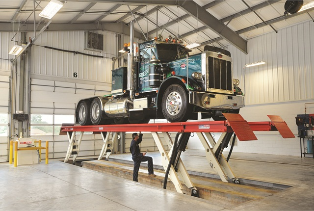 There's no such thing as one size fits all when it comes to shop lifts. This Skylift from Stertil-Koni is a heavy-duty platform lift that provides a clear floor concept for the user.