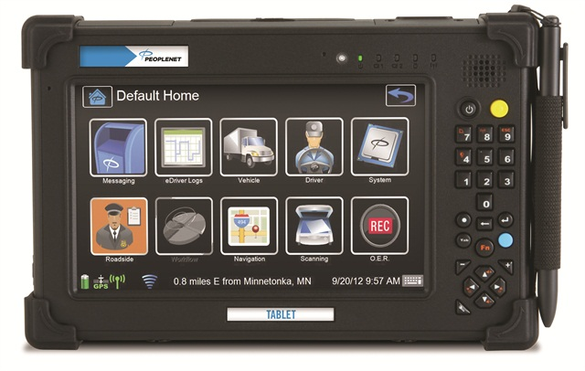 Extending mobile communications outside the cab of the truck can be accomplished using a tablet, such as this one from PeopleNet, allowing drivers to automate signature capture, bar-coding and other cargo-related tasks.