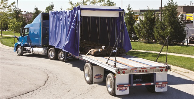 Rolling tarp systems, like TarpStop's FasTrack, protect loads but can be opened or closed in a couple of minutes.