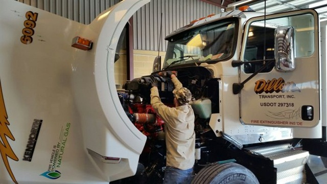 Training and education are vital to help technicians feel fulfilled in their jobs and to keep them up to date on new technology — including alternative fuels, as in this Dillon Transport shop. Photo: Dillon