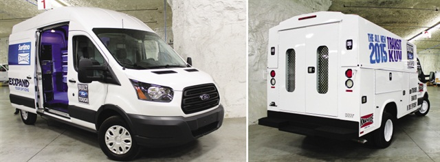"In ""Subtropolis"" limestone caves under Kansas City, Knapheide installs shelves, cabinets and racks in Ford's large Transit vans (left) produced in above-ground plant nearby. Meanwhile, Knapheide Utility Vehicle bodies are mounted on Transit cab-chassis vehicles (right) while smaller Transit Connect vans, produced in Spain, are brought in for upfitting."