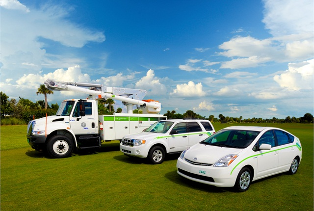 Florida Power & Light was the first utility to deploy a plug-in hybrid biodiesel electric bucket truck like the one on the left in 2008.
