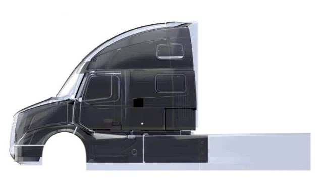 Compared to a 2009 VN cab, the SuperTruck cab (lightly shaded) is 3 inches taller, 8 inches longer and wider at the back than the front. The roof profile is changed too. Photo: Volvo