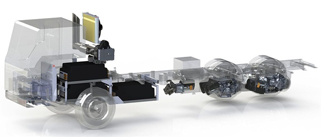 Wrightspeed's Fulcrum turbine-powered generator charges batteries that power electric motors at the truck's rear axles. The motors act as generators during braking, further charging batteries. The turbine will burn a variety of fuels.
