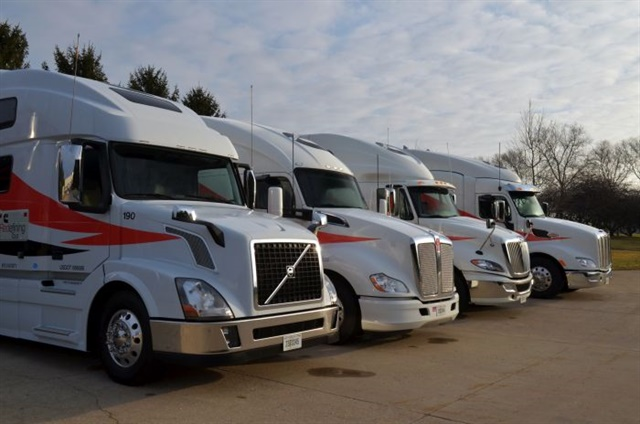 We drove all the trucks except the Volvo. The ProStar had the Fuel Efficient version of the new X15, and the Peterbilt had the Performance version. The Kenworth has a current engine for comparison. Photos: Jim Park