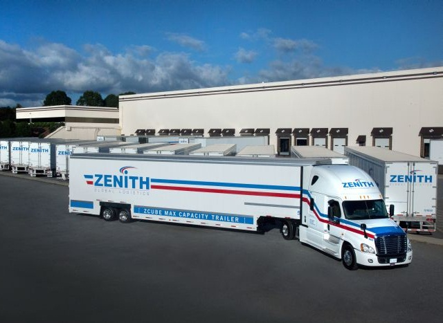 Low-floor vans are like the household goods trailers that Kentucky specializes in, but without the belly boxes and side doors. Freightliner single-rear-axle tractors are driven by teams.