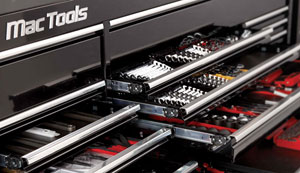 The MB7432 is a 74-inch-wide workstation that is 32 inches deep and 46 inches tall. The system features a 5-inch-deep, 66-inch-wide drawer for storing sockets and 3-inch-deep, extra-wide drawers for wrench
