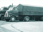 Three trucks used in a General Motors fuel economy test in 1954. Then,