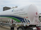LNG is trucked from the plant to fueling facilities at fleets or truckstops. The trailers are built like a Thermos bottle, with an inner and outer skin. Photo: Pivotal