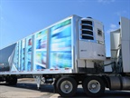 Wabash National's prototype composite reefer trailer uses fiberglass, carbon fiber and resin in its panels, including the floor and supporting structure. It's said to weigh and perform about 20% better than conventional temperature-controlled trailers. Photo: Wabash National