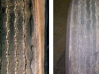 Tire wear associated with balance problems often appears as cupped channels along the tread face of the tire. (Photo: TMC)